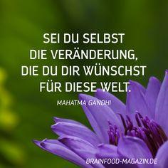 Sei du Selbst die Veränderung, die du dir wünscht für diese Welt. Mahatma Gandhi #zitate #veränderung #inspiration
