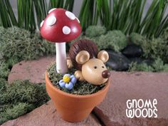 OOAK Hedgehog and Toadstool Sculpture by GnomeWoods on Etsy, $15.00