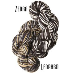 Go Wild with these inspired animal prints from our amazing friends at Wild Hare Fiber Studio. One skein makes a pair of safari socks, a unique shawl, or a sassy hat.  Available in Zebra or Leopard while supplies last.  FOR A LIMITED TIME - We will include a pattern for our Tassled Slouch Hat/Cowl with purchase!  Pinnacle Sock: 75% superwash merino, 25% nylon; 100 g.; 460 yds.