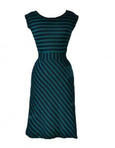 Navy and Emerald Women's Striped Belted Dress via lilblueboo.com