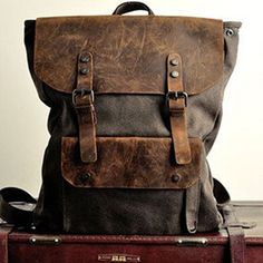 Back In Stock-Genuine leather backpack canvas backpack
