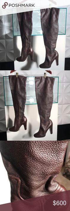 f333458e16be Miu Miu Over The Knee Boot ! Calf Leather in a beautiful dark brown color.