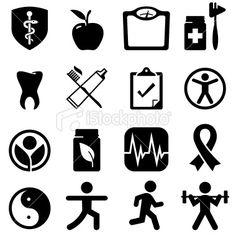 Health & Wellness Icons - Black Series Royalty Free Stock Vector Art Illustration