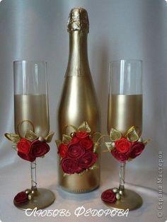 Декор предметов 8 марта Валентинов день Свадьба Моделирование конструирование Подарочный набор Палермо Бусины Бутылки стеклянные Клей Краска Ленты фото 2