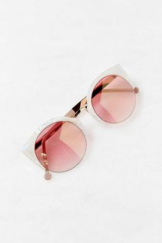 white & pink cat-eye sunglasses - urban outfitters