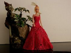 Red gown for dolls