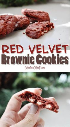 Red Velvet Brownie Cookies use cake mix and only 4 total ingredients to make a gooey, rich, fudgey cookie from simple supplies. This easy recipe is just as good as from scratch! Red Velvet Brownies, Red Velvet Cake Mix, Easy Cookie Recipes, Quick Recipes, Dessert Recipes, Brownie Cookies, Brownie Batter, Brownie Cake, Bar Cookies