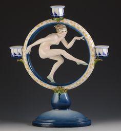 1920s RARE Stylized Art Deco Goldscheider Wein Superb Female Dancer Candelabra | eBay