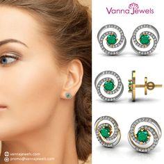 Vannajewels Certified Diamond Women's Stud Earrings Solid Yellow Gold Emerald Jewelry