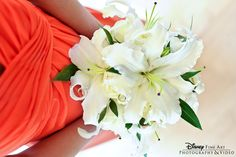 Love the white lily bouquet and the coral bridesmaid dress!