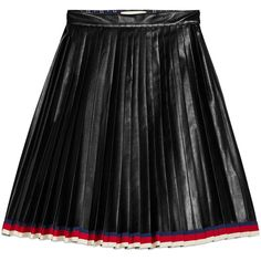 Gucci Pleated Leather Skirt ($2,595) ❤ liked on Polyvore featuring skirts, bottoms, black, ready to wear, women, pleated skirt, knee length leather skirt, real leather skirt, gucci and genuine leather skirt