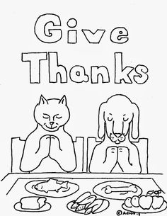 Coloring Pages for Kids by Mr. Adron: Animals Give Thanks Coloring Page for Thanksgiving, Free To Print And Color For Kids And Adults.