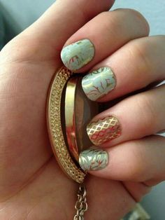 Fresh Fern and Gold Fishnet  Get it on www.mmhomer.jamberrynails.net