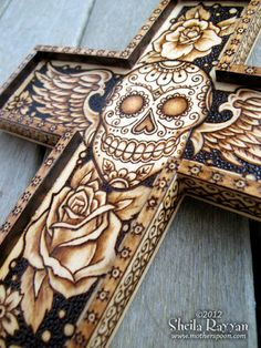 Sugar Skull Day of the Dead Cross - pyrography.
