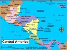Central America Map. My parents have been to all of these down to Panama. Jealous.
