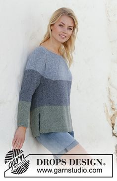 Knitted jumper with raglan in DROPS Sky. Piece is knitted top down with stripes and vents in the sides. Size: S - XXXL Design dreieckstuch Sweet Nothing Jumper / DROPS - Free knitting patterns by DROPS Design Jumper Knitting Pattern, Knitting Patterns Free, Free Knitting, Raglan Pullover, Patagonia Pullover, Drops Design, Jeans Claro, How To Start Knitting, Work Tops
