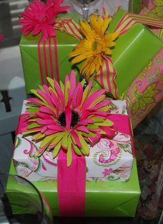 Floral details, pink, lime green