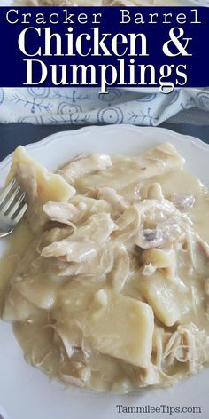 Easy copycat Cracker Barrel Chicken and Dumplings Recipe! Homemade southern style chicken and dumplings that don't take long to make. So easy even with homemade dumplings. This is the BEST Homemade chicken and dumplings recipe ever! Cracker Barrel Chicken And Dumplings Recipe, Cracker Barrel Recipes, Homemade Chicken And Dumplings, Easy Chicken And Dumplins, Cracker Chicken, Instapot Chicken And Dumplings, Cracker Barrel Meatloaf, Dumpling Recipe, Southern Food