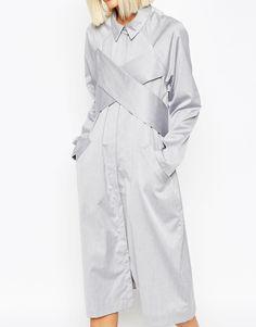 Bild 3 von ASOS WHITE – Midi-Hemdkleid mit überkreuztem Design