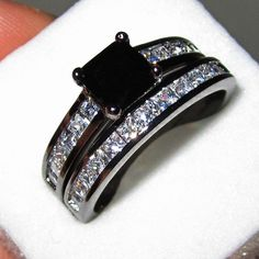 18K Black Gold Filled Princess-cut Black Sapphire Simulated Diamond Stone CZ Pave Set Wedding Couple Ring Set for Women www.bernysjewels.com #bernysjewels #jewels #jewelry #nice #bags