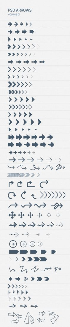A set of nicely designed psd photoshop arrows. All scaleable and editable in vector shapes and separated on layers. Design Web, Tool Design, Cv Inspiration, Graphic Design Inspiration, Icones Cv, Responsive Layout, Signage Design, Design Graphique, Grafik Design