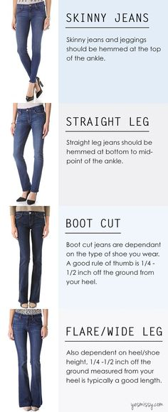 A Complete Guide on How to Hem Jeans - Proper Length Yes MissyYou can find Hem jeans and more on our website.A Complete Guide on How to Hem Jeans - Proper Length Yes Missy Types Of Jeans, Types Of Shoes, Jean Types, Saum Jeans, Diy Fashion, Womens Fashion, Fashion Design, Cheap Fashion, Fashion Check