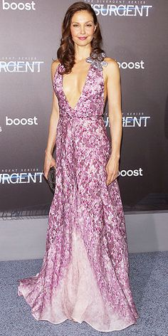 in a floral ombré Badgley Mischka gown with a deep neckline and jeweled accent at the shoulder for the N.Y.C. ...
