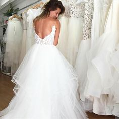 A-Line Floor-Length Sexy Spaghetti Straps V-neck Backless Wedding dresses , Western Wedding Dresses, Luxury Wedding Dress, Backless Wedding, Long Wedding Dresses, Bridal Dresses, Wedding Gowns, Red Wedding, Ivory Wedding, Tulle Wedding