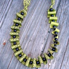 Ribbon and beads necklace