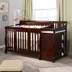 Storkcraft Tuscany 4 in 1 Convertible Crib and Changer - Espresso - contemporary - cribs - - by Hayneedle Nursery Crib, Nursery Furniture, Furniture Dolly, Kids Furniture, Furniture Decor, Furniture Sets, Crib With Changing Table, Convertible Crib, Baby Cribs