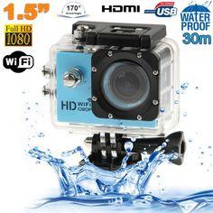 Caméra WiFi sport embarquée plongée caisson 12MP Full HD 1080P Bleu - www.yonis-shop.com