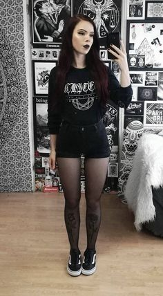 Graphic printed long sleeved top with black denim shorts, tights & Vans shoes by. Graphic printed long sleeved top with black denim shorts, tights & Vans shoes by nickysatanabis Fashion 90s, Grunge Fashion, Gothic Fashion, Look Fashion, Trendy Fashion, Fashion Outfits, Fashion Black, Fashion Shorts, Metal Fashion