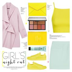 """No 309:Girl's Night Out,Beauty Edition"" by lovepastel ❤ liked on Polyvore featuring Topshop, T By Alexander Wang, adidas, NARS Cosmetics, Bumble and bumble, Rebecca Minkoff, Vince and GNO"