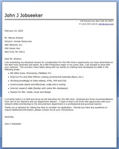 film internship cover letter examples - What To Include In A Cover Letter For An Internship