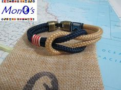 Bracciale con chiusura in Zamak Blu e beige Men's nautical bracelet with zama clasp
