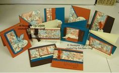 handmade greeting card set One Sheet Wonder!!!! from Flowerbug's Inkspot ... Autumn cards ... one 12X12 sheet of patterned paper cut up to be focal point on all of the cards .. pretty Fall print sets the colors for the cardstock and ribbon colors ... rusty red, vanilla and deep blue ... coordinated elements from Stampin' Up!