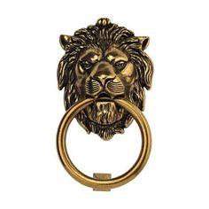 Classic Hardware 100977 Vintage Brass Lion Door Knocker - front door protector