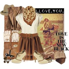 Oxfords and khaki skirt outfit. Polyvore spread created by simona_panik