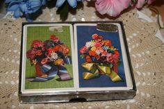 Vintage Double Deck of Matching Floral Basket Playing Cards ~ Missing Jokers ~ by ArtsyVintageBoutique