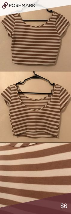 Thick Tan and White Striped Crop Top NWOT never worn low back crop top! Thick material. Size small. So cute!  Perfect for spring and summer!  Please feel free to ask any questions. Thank you for visiting my closet! Tops Crop Tops
