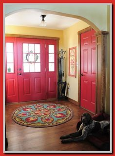 Update I like that the inside doors are brightly painted. What a great way to add color!I like that the inside doors are brightly painted. What a great way to add color! Inside Front Doors, Front Door Rugs, Front Door Entrance, Interior Door Colors, Black Interior Doors, Interior Rugs, Vintage Door Knobs, Vintage Doors, Antique Doors