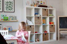 Ikea Bookshelf And Baskets For Boys' Playroom Kids, IKEA Bookshelves Baskets - Ronin Fleet Cube Storage Shelves, Playroom Storage, Ikea Shelves, Playroom Ideas, Toy Storage, Shelving, Girls Bedroom, Bedrooms, Baby Deco