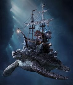 Artwork found online ♾ [please contact me for copyright issues or removal Fantasy Map, High Fantasy, Fantasy Artwork, Fantasy Art Landscapes, Fantasy Landscape, Fantasy Creatures, Mythical Creatures, Turtle Ship, Giant Animals