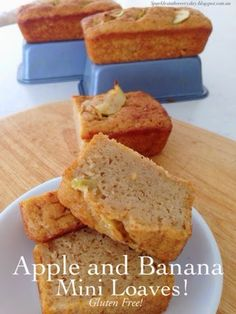 Apple and Banana Mini Loaves are delicious, gluten free & their size is perfect-one to eat straight from the oven, one for dessert and one for lunch boxes!