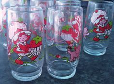 Vintage 1980 Strawberry Shortcake drinking glass/tumbler set & salt n' pepper shakers, 19 pieces, American Greetings, collectibles, cartoon