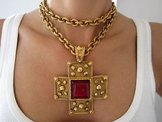 Maybe if I'm REALLY good this year  Santa will put this in my stocking... VINTAGE CHANEL RUBY GRIPOIX CROSS NECKLACE