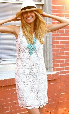 white dress & turquoise necklace
