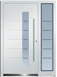 Modell Castor 2 Aluminium-Eingangstüre in weiß mit Seitenteil - Außenansicht! Erhätlich bei Fenster-Schmidinger aus Gramastetten in Oberösterreich! #doors #türen #alutüren