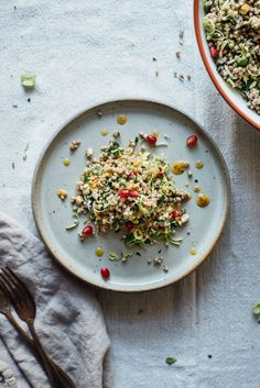 winter buckwheat + shaved brussels sprout bowl with pomegranate and almonds