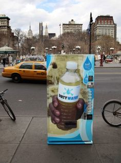 Highlighting that over 4000 children die daily from water related diseases – UNICEF has pitched a confronting campaign at New Yorkers. A vending machine dispenses 8 flavours of water: cholera, dengue, dysentery, hepatitis, malaria, salmonella and yellow fever. Consumers can purchase their favourite flavour to donate to UNICEF's efforts to provide untainted water to those in need via their Tap Project.